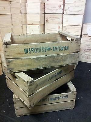 3 X French Wooden Farm Solid Apple / Fruit Crate Bushell Box Vintage Antique