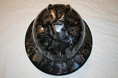 New Custom MSA V-Gard (Full Brim) Hard Hat W/Fas-Trac Ratchet American Bully