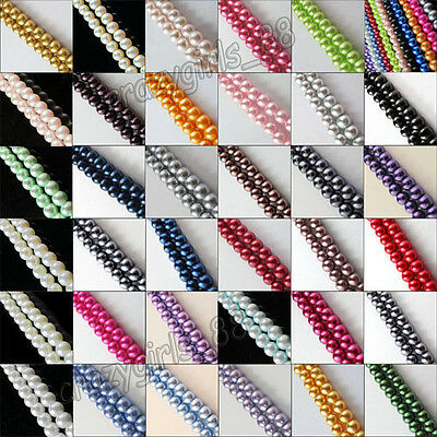 10-100pcs Hight Quality Glass Pearl Czech Round Loose Beads 4mm 6mm 8mm 10mm