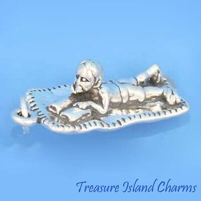 BOY READING BOOK ON THE BEACH 3D .925 Solid Sterling Silver Charm