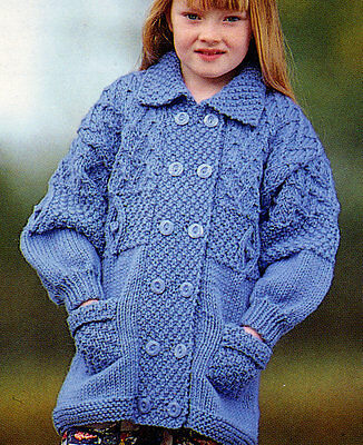 "Childrens/Baby Chunky Wool Textured Jacket  22"" - 30"" Hood or Colllar  ~ To Knit"