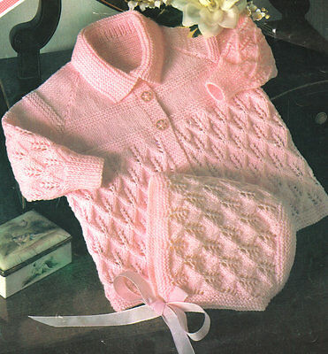 Baby Coat & Bonnet~ Diamond Leaf Lattice Smock ~ Knitting Pattern 3 ply 18 -20""
