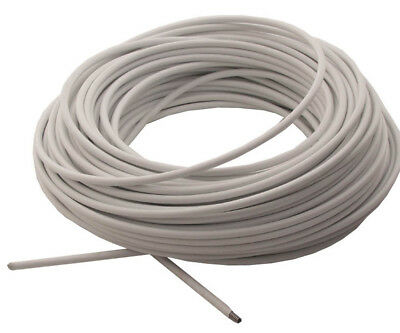 30m (100ft) of WHITE NET / VOILE / CURTAIN WIRE HANGING CORD CABLE HOOKS & EYES