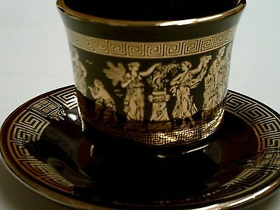 Vintage handmade BLK 24 k gold Cup & Saucer With Dancing Ancient Romans