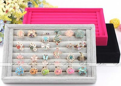 Ear Ring Jewelery Suede Display Box Storage Tray Case Holder Stand Organiser