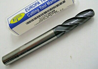 6mm CARBIDE BALL NOSED 4 FLUTED TiALN COATED END MILL EUROPA TOOL 3153230600 #86