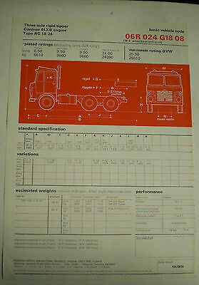 Foden Three Axel Rigid/tipper Gardner 6Lxb Engine Type Rg 18/24 Sales Brochure E