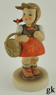 """Lovely Hummel Hand Painted Figurine of a """"Little Shopper""""  Girl in Pigtails"""