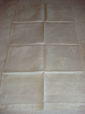 "Antique Linen DAMASK TOWEL Trumpet Lily, 35""x20"""