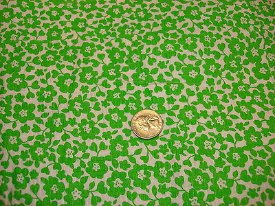 Vintage Seersucker Fabric LIME GREEN FLORAL ON WHITE 1 Yd