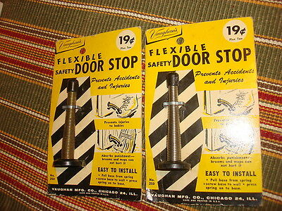 *2* Vintage FLEXIBLE SAFETY DOOR STOP Vaughan's, Gold Color, Silver Color #250
