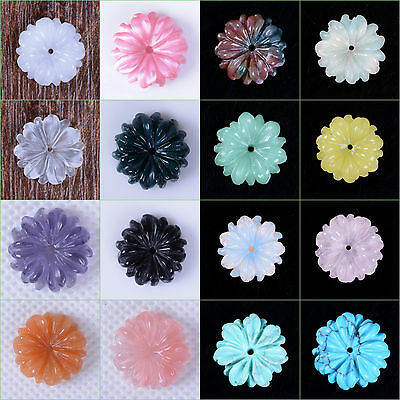 "15mm Carved small flatback daisy flower loose gemstone beads 0.6"" Save $ in Bulk"
