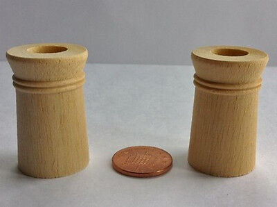 Two Wooden Chimney Pots, Dolls House Miniature D.I.Y Fixtures & Fittings