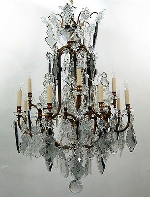 Bronze and Crystal Chandelier #7652