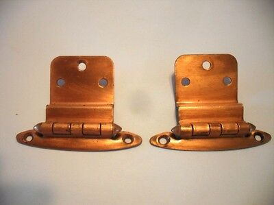 """Vintage COPPER Plated HINGES For 3/8"""" Inset Overlapping Cabinet Doors Art Deco"""