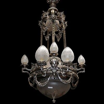 Silver Over Bronze Chandelier with Female Masks #6991