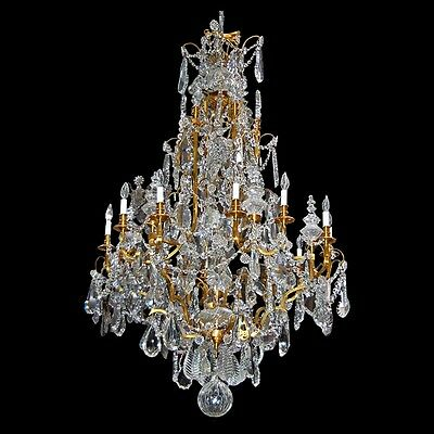 Baccarat Crystal Chandelier with Bronze Frame, 19th C. #7170