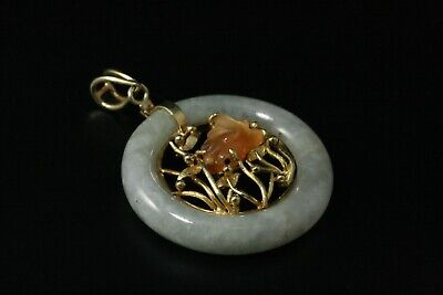 Vintage Jade Fish 14K Solid Yellow Gold Chinese Pendant (PEN678)
