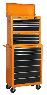 DJM Pro Toolbox Top Chest Tool Box Storage Roller Cabinet Ball Bearing 16 Drawer