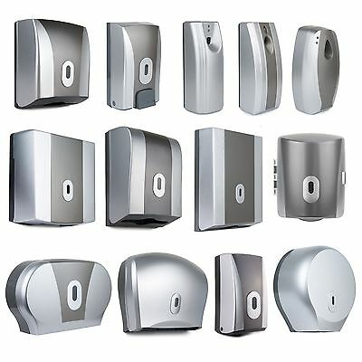 Silver Toilet Tissue Air Freshener Paper Towel Soap Centre Feed Roll Dispenser