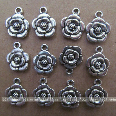 P008 15pcs Tibetan Silver Rose Flower Dangle Charm Beads 12*15mm Wholesale