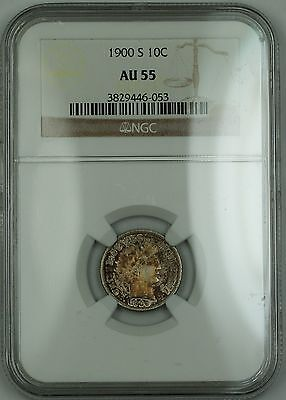 1900-S Barber Silver Dime 10c Coin NGC AU-55 Toned RF