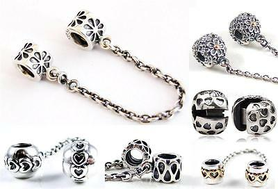 Threaded 925 Solid Sterling Silver Safety Chain & Beads European Charm Bracelet