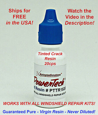 PowerTech Tinted Auto Glass Windshield Rock Chip Crack UV Repair Resin .5oz 15ml