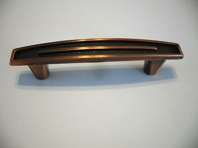 Vtg NOS COPPER Plated Cabinet Door Drawer Pulls Black Inset Face Handles 1960's