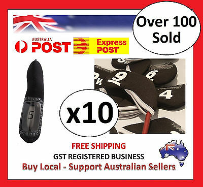 10 x BLACK GOLF IRON HEAD COVERS with Numbers Both Side and Display Window