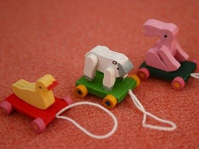 Animal Pull Along Toys, Dolls House Miniature, Nursery accessory Children's