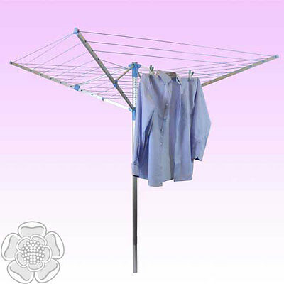 JVL Robust Adjustable 50 Metre 4 Arm Aluminium Rotary Clothes Airer Washing Line