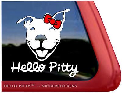 """Hello Pitty ~ Smiling Pit Bull Terrier Dog Decal Sticker - 5"""" tall x 5"""" wide"""