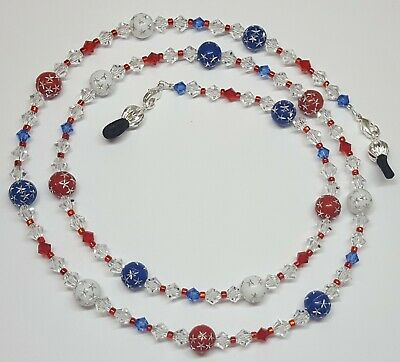 Patriotic Red White & Blue Stars Austria Crystal Eyeglass Chain