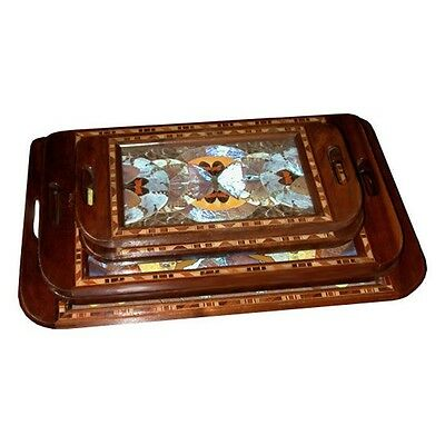 Art Deco Walnut Descending Trays w/ Decorated Inlaid Butterflies #6453
