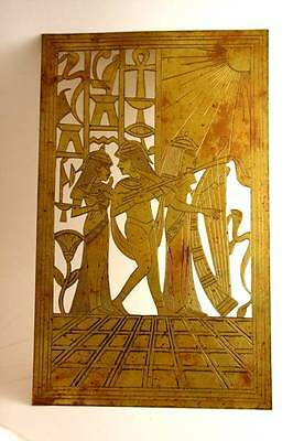 Antique Brass Ancient Egyptian Handmade Art Craft Pharaoh Figural Wall Decor