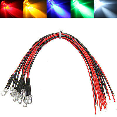 10X 5MM 12v Pre Cableado Luz Diodo LED Pre-Wired Lote LEDS 20 CM Super Brillante