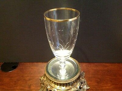 """Lenox Tiffin Glendale Crystal Ice Tea Glass 6 3/4"""" Tall Gold Rim Excellent Cond."""