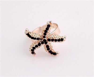 New Clear Black Crystal Rhinestone Gold Plated Starfish Ring Size Adjustable