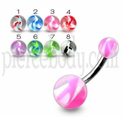8 x Ultra Violet Flexible Belly Bars Navel Rings with Solid UV Balls