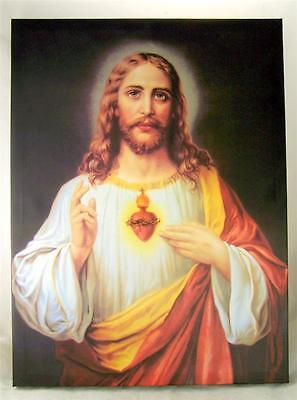 Sacred Heart of Jesus Christ 15 1/2 Inch Wall Art Canvas for Home or Sanctuary