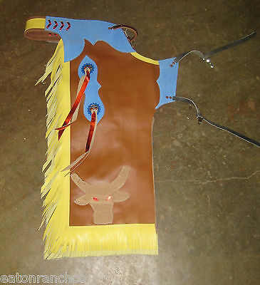 Leather Kids Junior Chaps Rodeo Mutton Busting Bustin Bull Riding Chap 51014