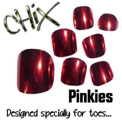 CHIX Nail Wraps NEW PINKIES Red Lightening Shiny JUST 4 TOES Foils Nails Salon