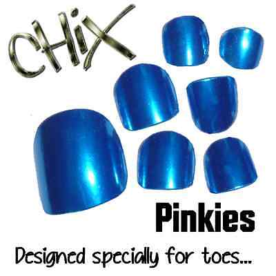 CHIX Nail Wraps NEW PINKIES Blue Lightening Shiny JUST 4 TOES Foils Nails Salon