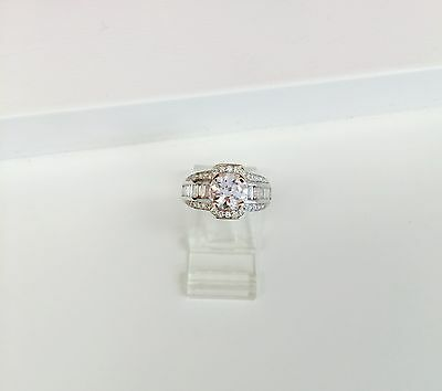 Amazing Vintage Reproduction Engagement Old European Cut 1.50 ct CZ Ring w/ Dias