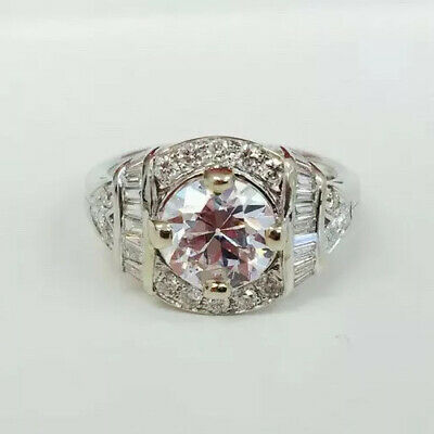 Gorgeous Vintage Reproduction Engagement Old Euro Cut 1.50 ct CZ Ring w/ Dias