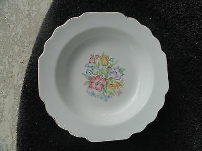 W S George Multicolor Floral Center Gold Trim Scalloped White Fruit/Dessert Bowl