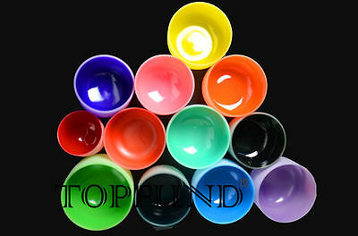 Chakra Tuned Set of 12 Colored Frosted Quartz Crystal Singing Bowls 8-12 inch