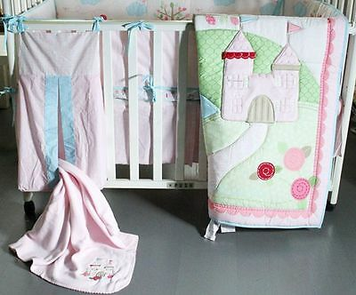 New Baby Girls 9 Pieces Pink Castle Theme Cotton Nursery Bedding Crib Cot Sets