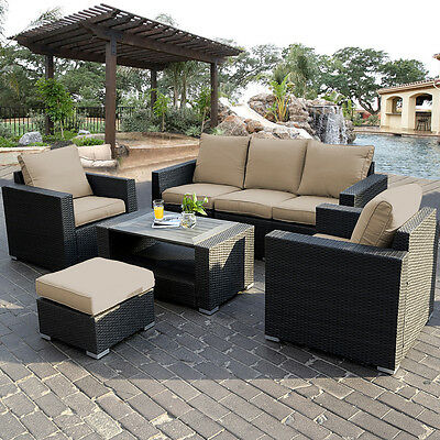 7PC Outdoor Patio Patio Sectional Furniture PE Wicker Rattan Sofa Set Deck Couch